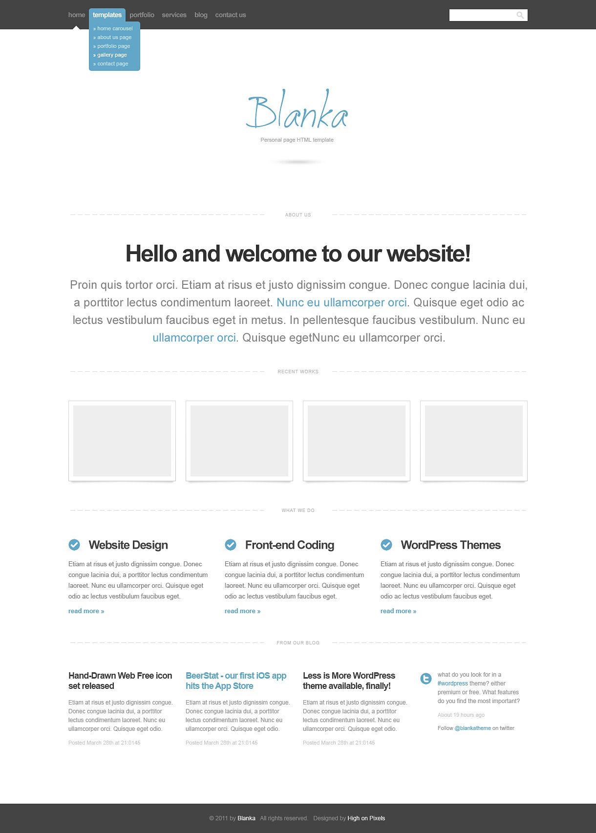 tutorial website template html