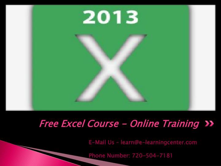 free online excel tutorial