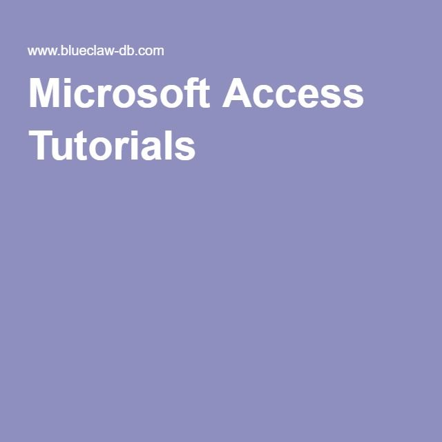 access database design tutorial