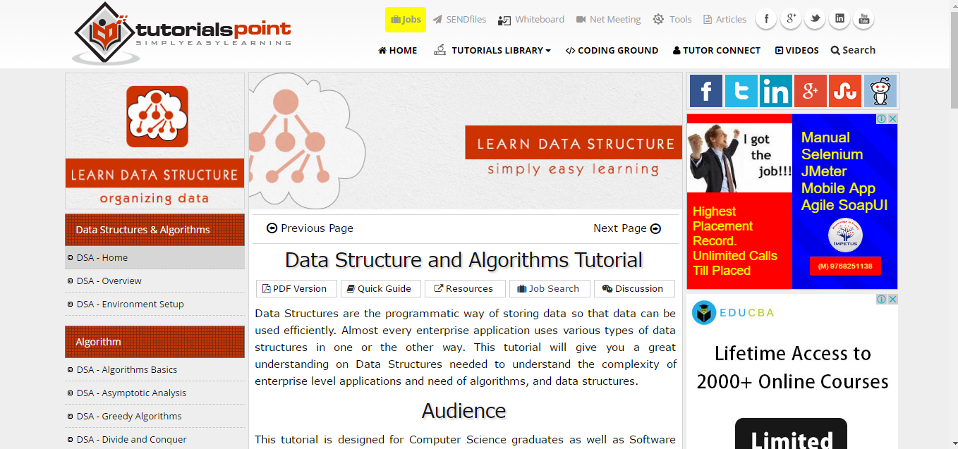 data structures and algorithms in c tutorial