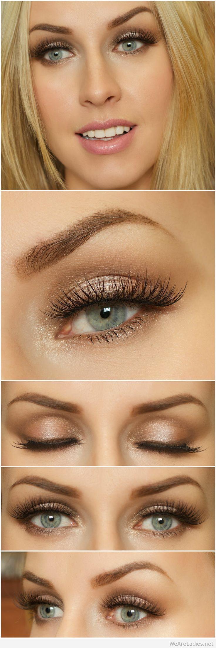 eye makeup for blue eyes and brown hair tutorial