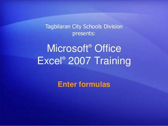 ms excel 2007 tutorial pdf with formulas